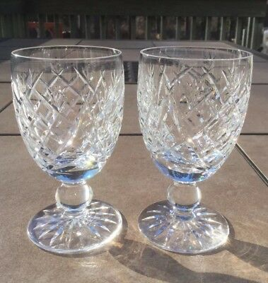 "Set of 2 WATERFORD DONEGAL (Cut) Claret Wine Glass 4-3/4"" tall"