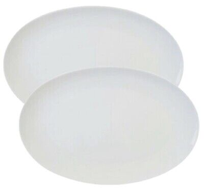 2x Large Pure White Oval Coupe Dinner Plate Steak Plate Porcelain 35cm 14 Inch