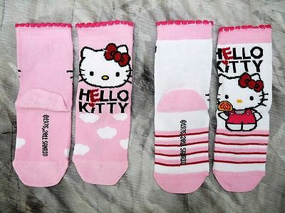 BNWT 2 x pairs GIRLS HELLO KITTY SOCKS PINK/WHITE RICH COTTON SIZE 6-8.5 RRP £5