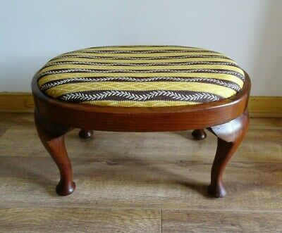 Antique Edwardian Wooden Stool, Vintage Chestnut Quirky Retro Yellow Footstool