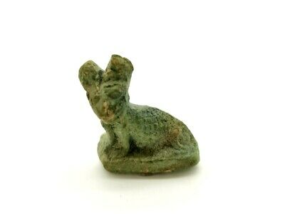 Ancient Egyptian Ca.1000 Bc Faience Cat Amulet  -  R175