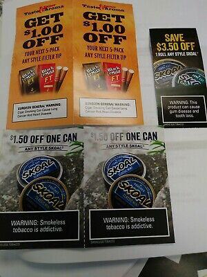 Skoal Coupons $6.50 - Black & Mild $2 ($8.50 in total savings) shipping included