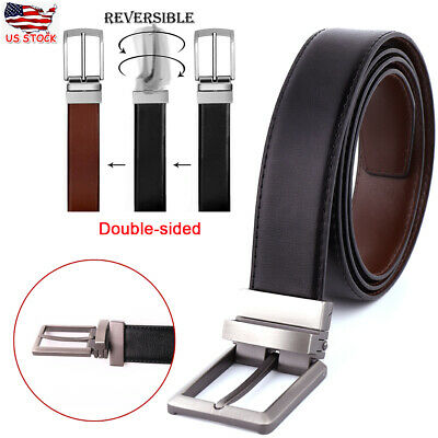 Double-sided Black&Brown Genuine Leather Belt Men's Reversible Rotated Buckle US