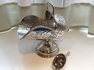 Superb Antique Victorian Mappin Brothers Silver Plated Sugar Scuttle And Scoop