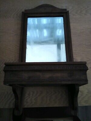 Edwardian Hallway Mirror &  Brush holder