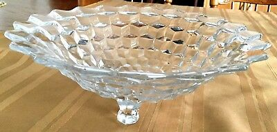 Vtg Clear Glass Fruit Footed Serving Bowl + 5 Ind dishes 'box-ribbon design'