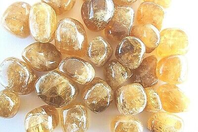 Three Calcite Citrine Tumbled Stone 20mm Reiki Healing Crystal by Cisco Traders