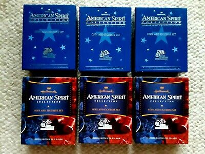 Lot of 6 Hallmark American Spirit Collection U.S Mint Coin and Figurine Sets COA