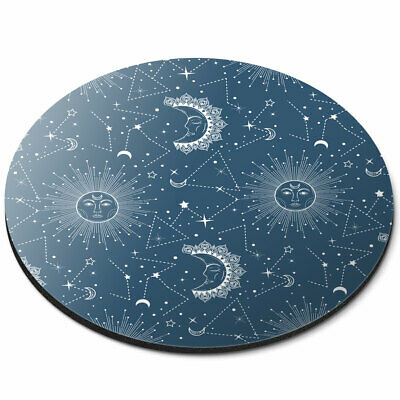 Round Mouse Mat - Blue Sun & Moon Astronomy Office Gift #12476