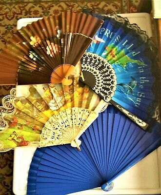 4 Vintage Ladies Fans -All Different and in good Condition.
