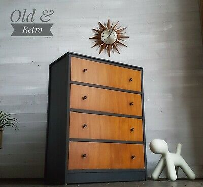 MID CENTURY GPLAN ERA VINTAGE RETRO chest 4 drawers teak & off black tallboy
