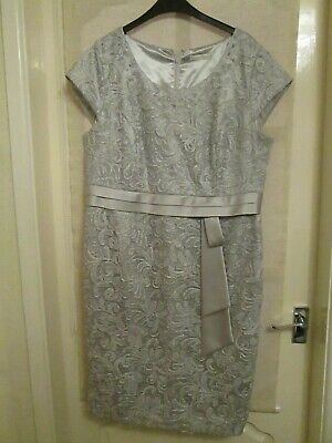 Jacques Vert Silver/Grey Dress-Wedding/Mother of Bride/Xmas Function Size 18