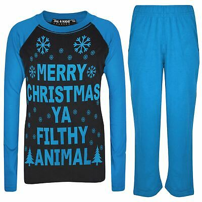 Kids Girls Boys PJ'S YA FILTHY Black & Blue Print Christmas Pyjamas Set 2-13