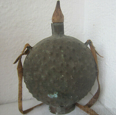 Early antique bronze tin flask canteen with old leather strap handle, 1.5 liters