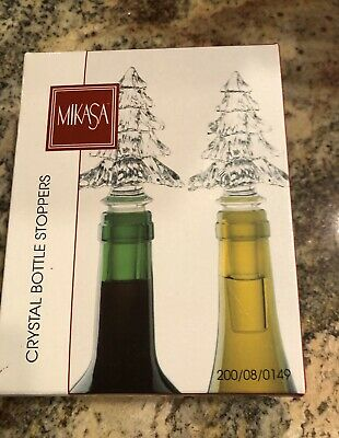 """Mikasa Lead Crystal Christmas Tree Bottle Stoppers NEW In Box pair 5 3/4"""" tall"""