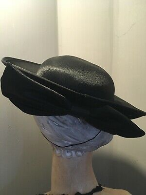 Black vintage 1980's ladies satin sheen hat with big bow