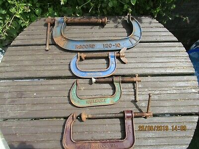 Vintage Record / Malleable / Roebuck G Clamps X 4 Job Lot