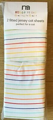 Mothercare Hello Friend Set Of 2 Fitted Striped Jersey Cot Sheets 🌟 BNIP 🌟