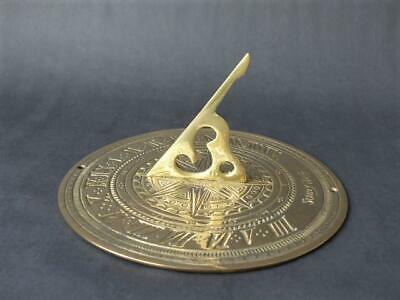 Large Brass Sundial - Garden Ornament Solid Brass Sundial, Time & Compass Points