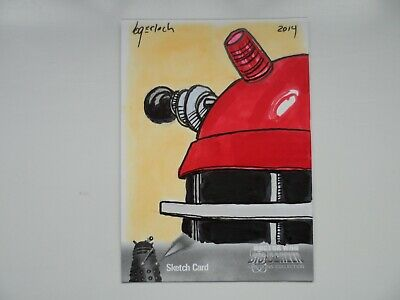 Dr  Who BIG SCREEN ADDITIONS  Bruce Gerlach SKETCH CARD RED MOVIE DALEK STRICTLY