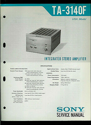 Sony TA-3140F Integrated Stereo Amplifier Original Factory Service Manual Guide