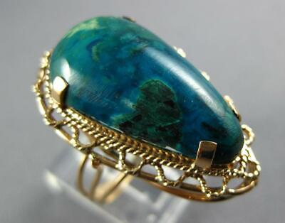Antique Large Aaa Turquoise 14Kt Rose Gold 3D Pear Shape Filigree Ring