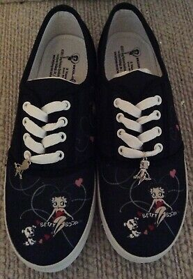 Collectable Betty Boop Canvas Shoes With Shoe Charms - Black NEW Tennis Shoe