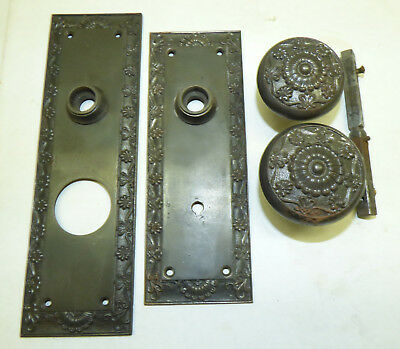 Antique Cast Iron Victorian Entry Door Plates & Knobs Set Fancy Shell Scroll
