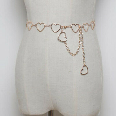 Gold Silver Metal Ring Belt Women's Waist Chain Love Heart Rings Chain Belt SH