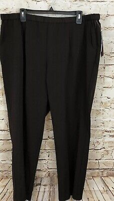 JM Collection pull on pants women 22W PETITE brown new elastic waist straight M3
