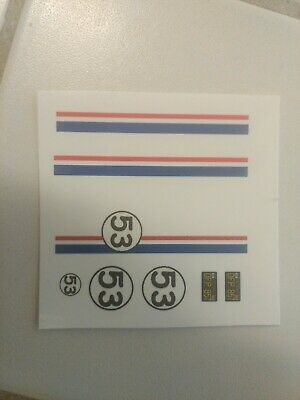 Herbie love bug 1:24 1:25  scale water slide decals on Clear Backing VW