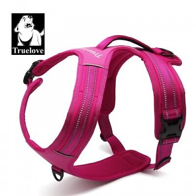 Large - Truelove Tlh5551 No-Pull Dog Harness Soft W/Padded Handle - Fuchsia Pink