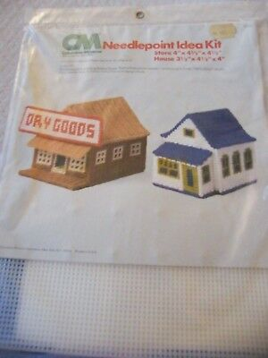 Dry Goods Store & Blue Roofed House Village Needlepoint Plastic Canvas Kit