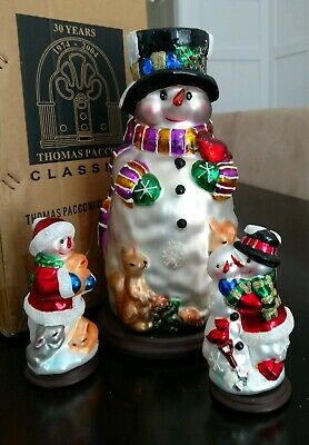 30th Anniversary Thomas Pacconi Classics 3 Snowman Set blown glass Handcrafted
