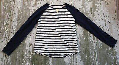 JOHNNIE B mini Boden Navy Blue White Striped Gold Sequin Accent Shirt Size 11 12