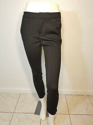 Kut from the Kloth Womens Pants Jet Black Size 6 Skinny Stretch embroidered