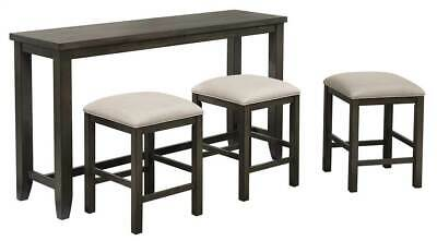 4-Pc Small Pub Table with Stools in Gray [ID 3959670]