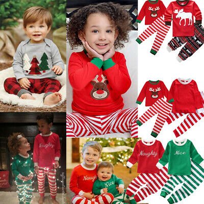 Kids Girls Boys PJ'S Pajamas Nightwear Xmas Christmas Pyjamas Set Age 1-7 Years