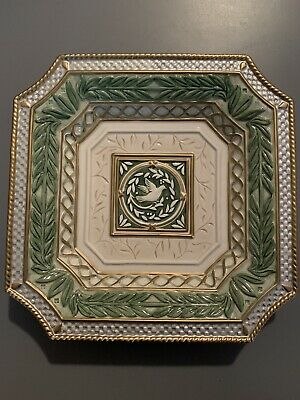 Fitz and Floyd Canape Plate Gregorian Collection Green  Dove