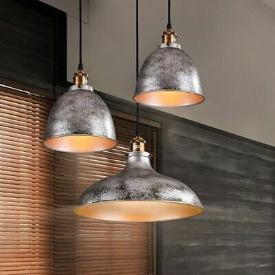 Mini Dome Kitchen Pendant Light Chandelier Industrial Antique Gray Bulb Fitting