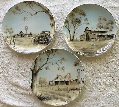 Australian Pioneer Homestead Collectors Plates by Allan Ames. A set of 3. As new