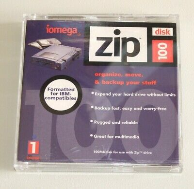Brand New 100 MB Iomega Zip Disk With Case. PC formatted.