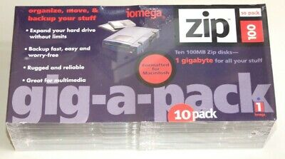 10 pack Brand New 100 MB Iomega Zip Disk With Case. Mac formatted.