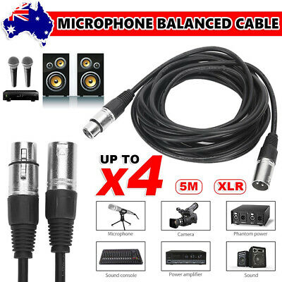 4 Audio XLR Cable 5m Microphone Lead Patch Mic Cord Balanced Extension Connector