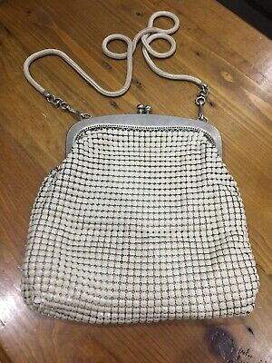 authentic cream Glomesh vintage bag with removable strap.
