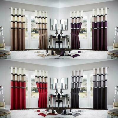 2 X PC Curtains Eyelet Ring Top Lined Home Office Door Window Partition Curtain
