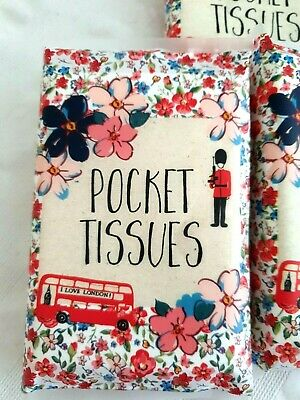 Pocket Tissues 1 Pack Love London Bus Travel Floral Handbag Souvenir Red
