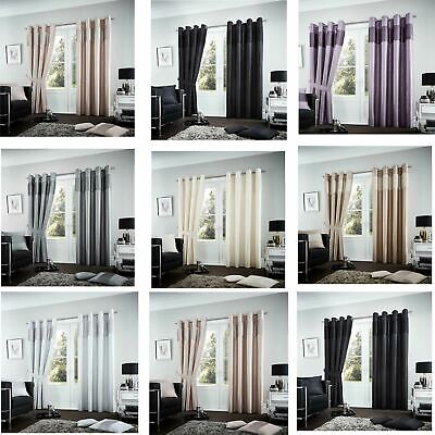 2 x PC Fuel Luxury Curtains Ready Made Eyelet Ring Top Fully Lined & Tie Backs