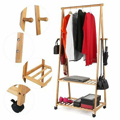 Bamboo Clothes Rail Garment Rack Hanging Stand Coat Wardrobe Wheel Shoes Shelf