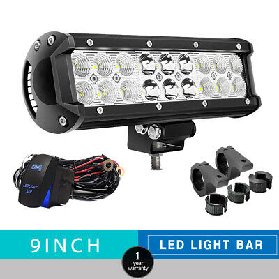 Dual Row 9INCH 54W LED WORK LIGHT BAR Spot Flood Offroad For Ford Ranger/Focus